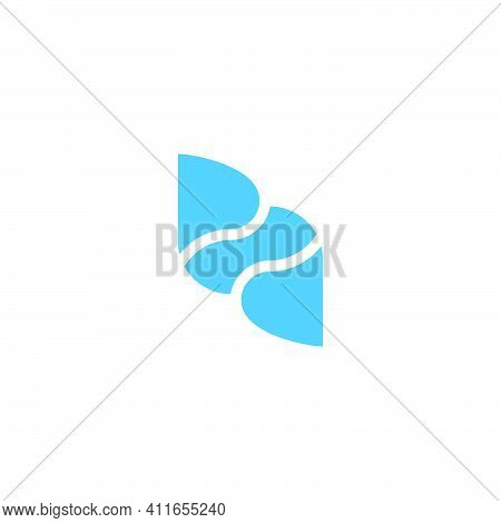 Abstract Letter Pd Water Curves Geometric Simple Logo Vector