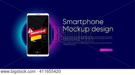 Important Paper Banner. Mobile Phone Vector Mockup. Attention Message Tag. Warning Exclamation Mark