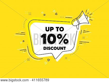 Up To 10 Percent Discount. Megaphone Yellow Vector Banner. Sale Offer Price Sign. Special Offer Symb