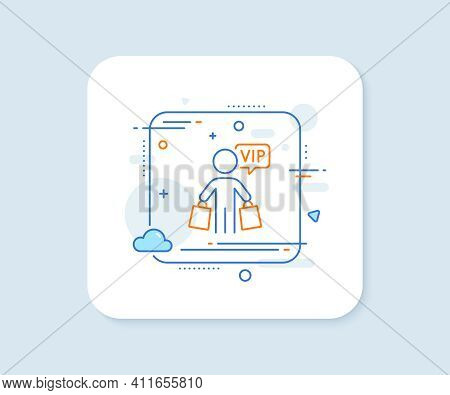 Vip Shopping Bags Line Icon. Abstract Square Vector Button. Very Important Person Sign. Member Club