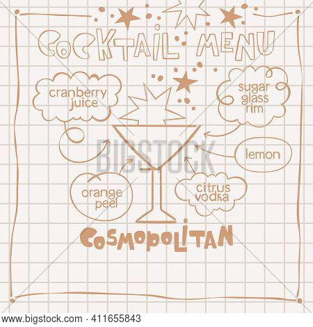 Cosmopolitan. Cocktail Menu. Alcoholic Cold Drinks. Recipe. Lettering, Arrows, Dialog Clouds. Stars