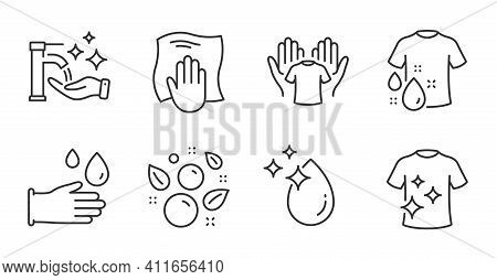 Rubber Gloves, Clean T-shirt And Wash T-shirt Line Icons Set. Clean Bubbles, Washing Cloth And Washi