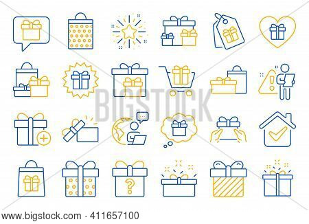 Gift Line Icons. Present Box, Offer And Sale. Shopping Cart, Tag And Chat. Speech Bubble, Give A Gif