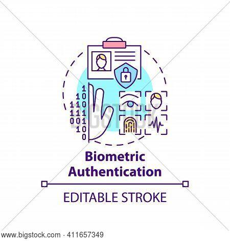 Biometric Authentication Concept Icon. Fingerprint And Id Scanner Idea Thin Line Illustration. Verif