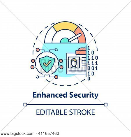 Enhanced Security Concept Icon. Surfing Internet Idea Thin Line Illustration. Protection From Scamme