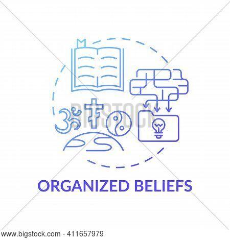 Organized Beliefs Blue Gradient Concept Icon. Institutional Religion. Spirituality And Faith. Religi