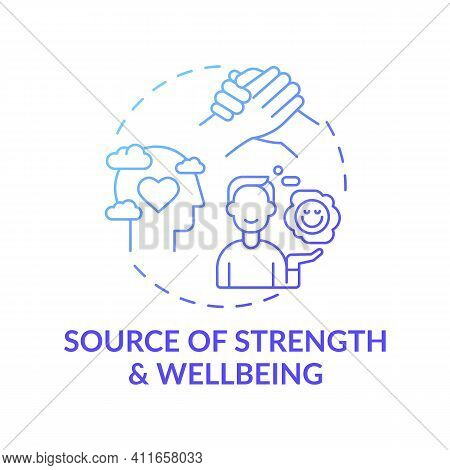 Source Of Strength And Wellbeing Blue Gradient Concept Icon. Mental Health Care, Psychotherapy. Reli