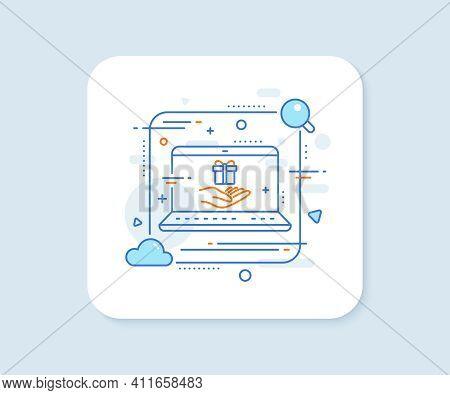 Loyalty Program Line Icon. Abstract Vector Button. Gift Box Sign. Present Symbol. Loyalty Program Li