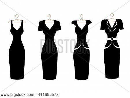 Set Of Silhouettes Of Classic Dresses On A Hanger Black On White. Isolated Set For Advertising, Flye