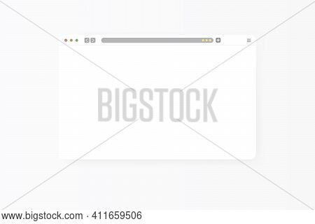 Modern Web Browser Window Design Isolated On White Background. Web Window Screen Mockup With Shadow.