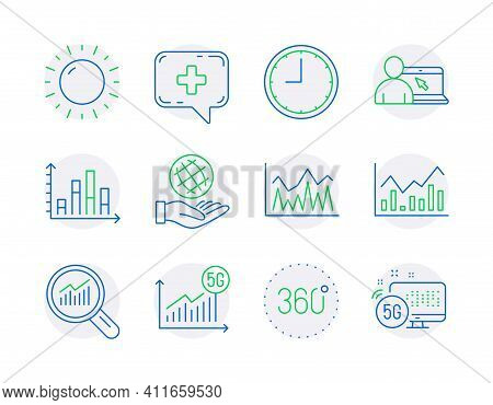 Science Icons Set. Included Icon As Online Education, 360 Degrees, Sunny Weather Signs. Time, Invest