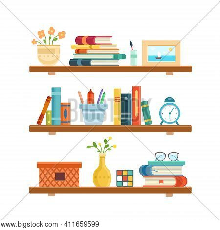 Bookshelf In Library Room, Office Shelf, Wall, Interior, Bookshelf, Vector Background. Flat Vector I