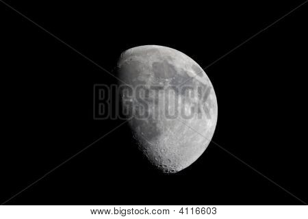 Real View Of Waxing Gibbous Moon Through Telescope