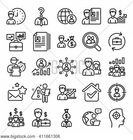 Human Resources, Head Hunting Line Icons. Business Networking Contract, Job Interview And Head Hunti