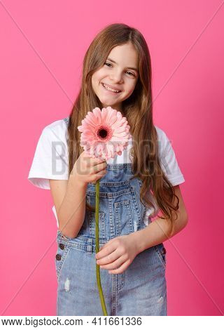 Girl 10 Years Old In A Denim Shirt With A Pink Gerbera Flower In Her Hands On A Pink , Teenager