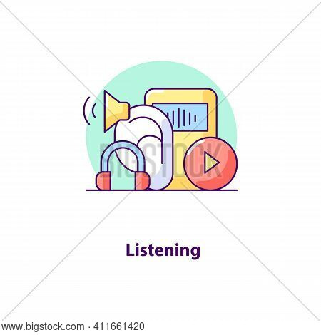 Listening Creative Ui Concept Icon. Wireless Communication Abstract Illustration. Music Player. List