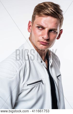 Get Your Handsomest Face Ever. Handsome Man With Clean Shaved Skin Isolated On White. Mens Skincare.