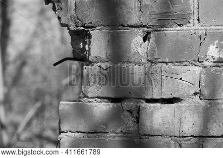 Old Brick Wall. Brick Wall Background, Brick Texture. Background, Old Wall, Brick, Cracked Cement Jo