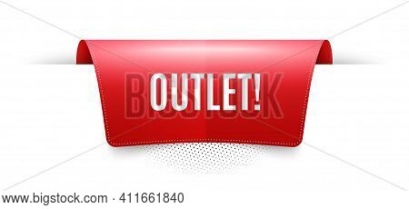Outlet Symbol. Red Ribbon Label Tag. Special Offer Price Sign. Advertising Discounts. Infographics P