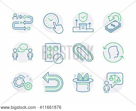 Business Icons Set. Included Icon As Face Id, Hat-trick, Undo Signs. Medical Tablet, Cashback, Journ