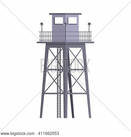 Tall Military Observation Tower As Structure Used In Army Vector Illustration