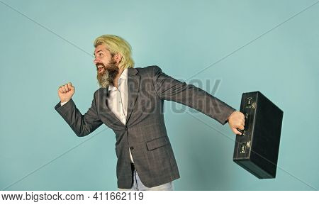 Happy Worker. Carefree Thief. Business Man Formal Suit Carries Briefcase. Illegal Deal Business. Ste