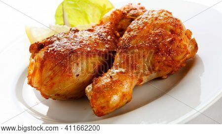 Wings With Salad Tasty And Delicious Leg Pieces With Salad In White Plate With White Background Meal
