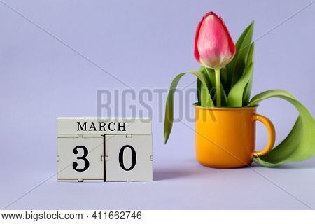 Calendar For March 30 : A Cube With The Number 30, The Name Of The Month March In English, A Scarlet