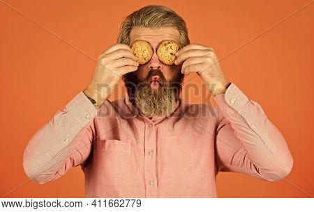 Obsessed With Pastry. Sweet Cookies. Sweet Tooth Concept. Cookies On His Mind. Bearded Man Hold Cook