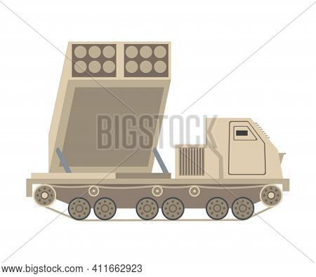 Armoured Missile Vehicle As Military Transportation For Combat Vector Illustration