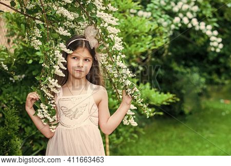 Small Girl Walking Summer Park Nature Background, Hide And Seek Concept