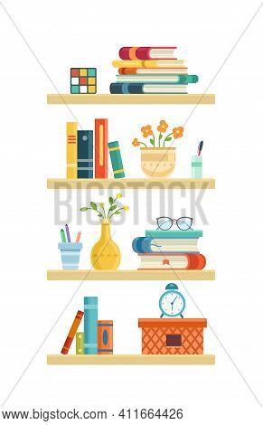 Long Light Bookshelf In Library Room, Office Shelf, Wall, Interior, Bookshelf, Vector Background. Fl