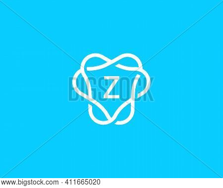 Abstract Linear Letter Z Logo Icon Design Modern Minimal Style Illustration. Unusal Round Wreath Fra