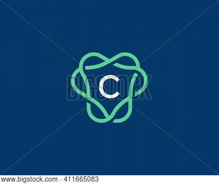 Abstract Linear Letter C Logo Icon Design Modern Minimal Style Illustration. Unusal Round Wreath Fra