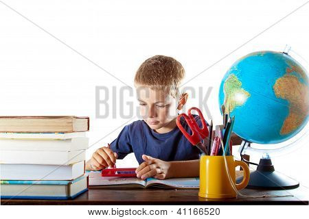 Child studying on a tablet computer