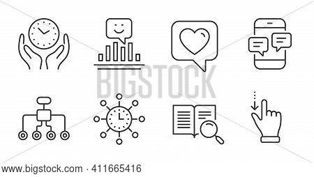 Search Text, Restructuring And Heart Line Icons Set. Smile, Phone Messages And World Time Signs. Saf