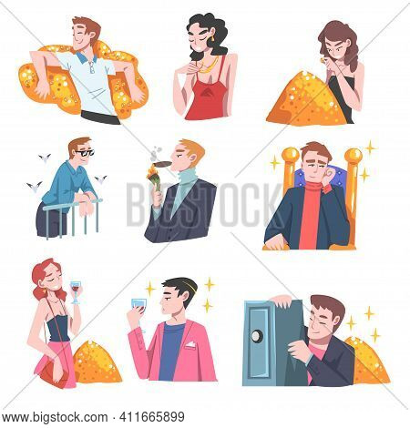 Rich And Wealthy People Characters Having Abundance Of Financial Assets Rolling In Cash Vector Illus