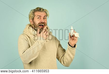 Man Use Effective Medicines. Happy Man Hold Nasal Drops. It Helps. Flu Concept. Hipster Feels Badly