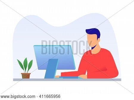A Man Working At Computer At Office Or At Home. Computer On The Table - Monitor And Keyboard And Pot