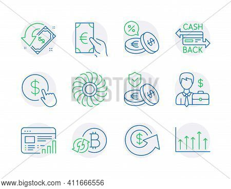 Finance Icons Set. Included Icon As Currency Exchange, Web Report, Buy Currency Signs. Businessman C