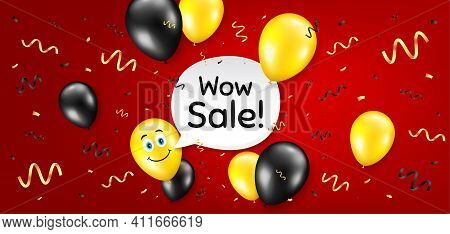 Wow Sale. Balloon Confetti Vector Background. Special Offer Price Sign. Advertising Discounts Symbol