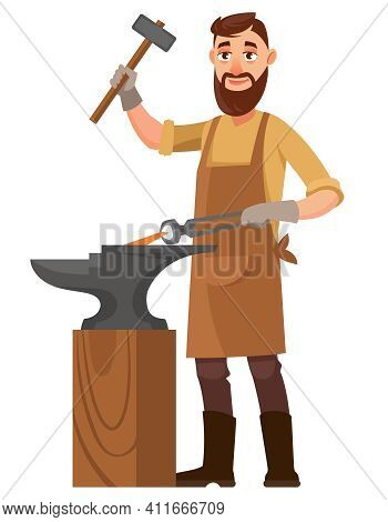 Blacksmith Strikes The Anvil. Male Person In Cartoon Style.