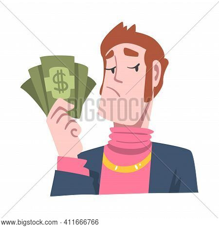 Rich And Wealthy Man Character Holding Dollar Banknote At Half Length Vector Illustration
