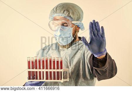 Coronavirus Vaccine. Doctor Protective Mask. Laboratory Testing Respiratory Coronavirus Disease. Det