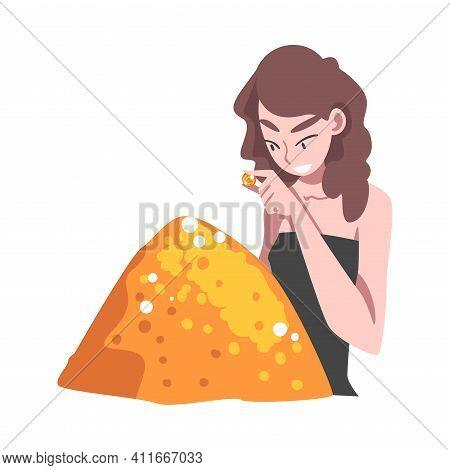 Affluent And Rich Woman Watching Golden Coin Having Abundance Of Financial Assets Vector Illustratio