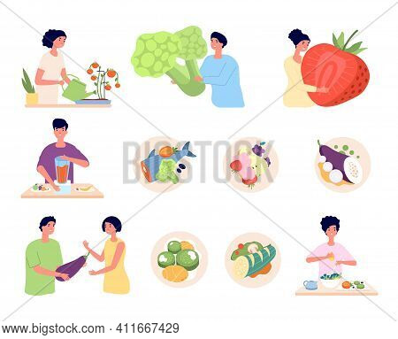 Vegan Lifestyle. Organic Food, Isolated Vegetarian Nature Product. Organic Meal Of Eco Farm, People