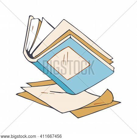 Open Book. Sketch Diary, Empty Paper Pages. Isolated Doodle Notebook Icon, Hand Drawn Journal Vector