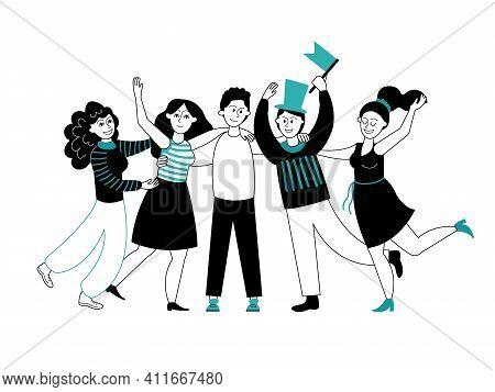 Friends Hugging. Friend Group, Cartoon People Crowd. Unity Friendship, Hug Day Or Celebrations. Dece