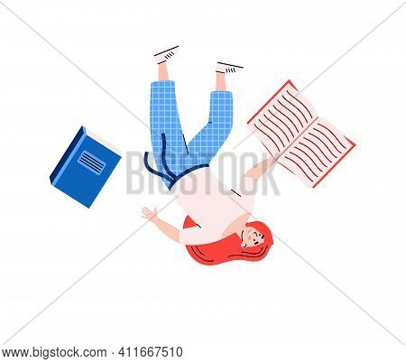 Young Woman With Books Floating In Zero Gravity, Cartoon Vector Illustration Isolated On White Backg