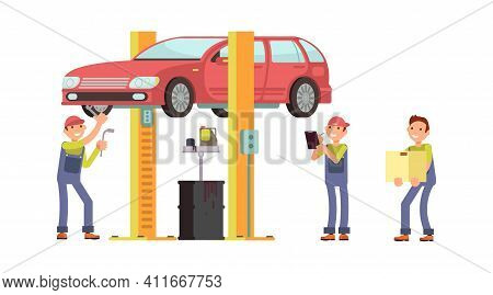 Auto Service. Car Repair, Mechanic Characters And Auto. Changing Oil In Vehicle And Finding Breakdow